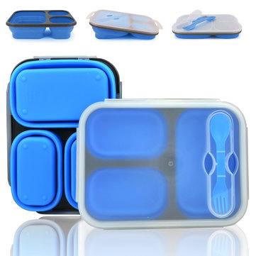 3 Cells Portable Silicone Lunch Box Collapsible Microwave Lunch Box Bento Lunch Box-thermos Folding Lunch Box