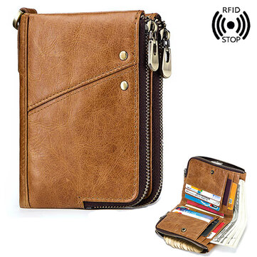 Men RFID Antimagnetic Wallet Genuine Leather 12 Card Slots Vintage Double Zipper Coin Bag
