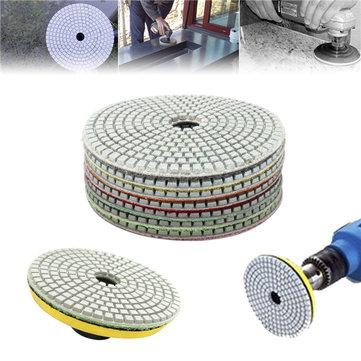 7pcs 5 Inch 50-3000 Grit Diamond Polishing Pad Sanding Disc for Marble Concrete Granite Glass