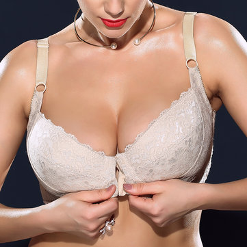 H Cup Front Closure Plus Size Ultra Thin Minimizer Underwire Bra
