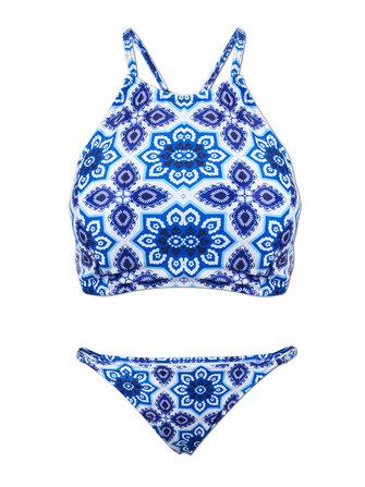 Sexy Women Halter Lace-Up Denim Padded Bralette Top Twinset Bikini Set Bathing Suit