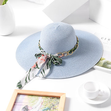 Women Outdoor Breathable Wide Brim Beach Straw Hat