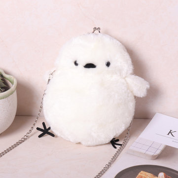 Women Cute Cartoon Small Yellow Chicken Bag New Plush Chain Fashion Shoulder Crossbody Folder Bag
