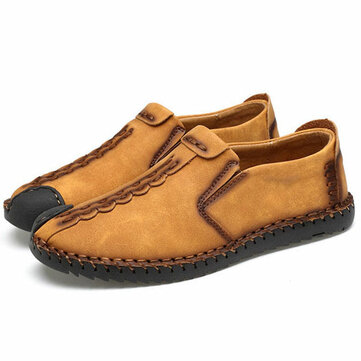 Men Leather Soft Flats Slip On Hand Stitching Loafers