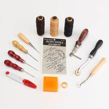 14 Pcs Leather Craft Tool Set Handmade DIY Tools Kit Hand Stitching Sewing Thread Awl Thimble