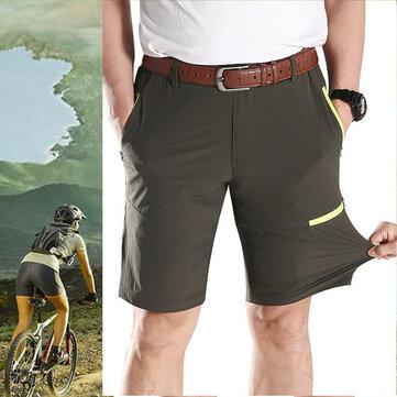 กางเกงL-5XLขนาดใหญ่OutdooorsElasticสูง Quick Drying กางเกงขาสั้นกางเกงขาสั้นของผู้ชายที่มีความยาวลำลอง