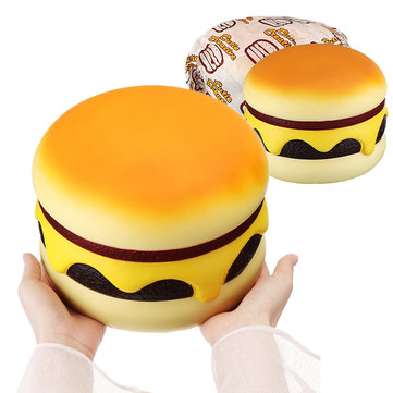 Cutie Creative Squishy Cheese Beef Burger Humongous Giant Hamburger 22CM Bread Jumbo Gift Soft Toys