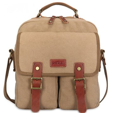 Vintage Canvas Casual Magnetic Buckle Zipper Crossbody Shoulder Bag For Men