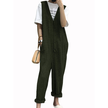 Women Sleeveless Button V-neck Solid Color Jumpsuit Overalls