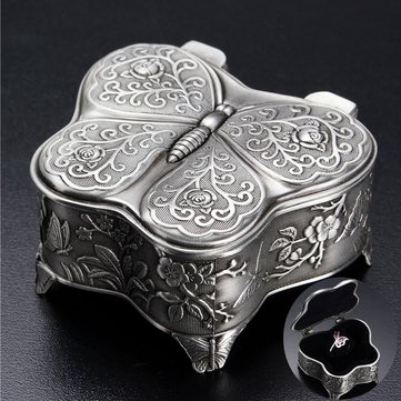 Metal Vintage Printed Butterfly Ring Jewelry Storage Box Gift Case