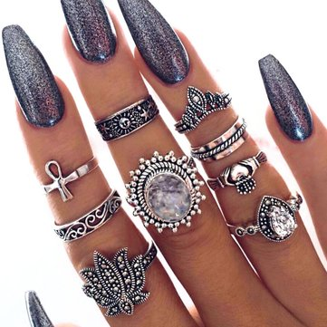 9Pcs Bohemian Statement Ring Sets Vintage Geometric Sun Stars Crown Flower Knuckle Rings for Women