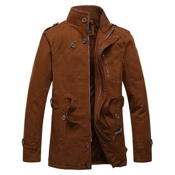 Mens Classic Fashion Stand Collar Thick Outdoor Coat Casual Solid Color Jacket
