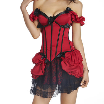 Sexy Woman Transparent Lace Skirt Corset