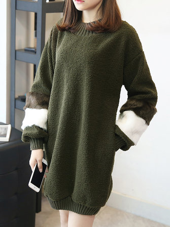 Women Elegant Patchwork Fleece O-neck Long Sweatshirt