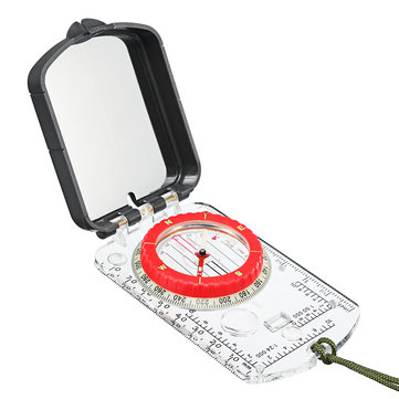 Professional Pocket Military Compass Compact Baseplate Pocket Hiking Sighting Walking LED light