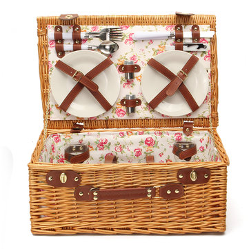 Retro Deluxe Wicker Picnic Basket Set Plates Glasses Tableware Pepper Pot Lunch Box Pinic Basket
