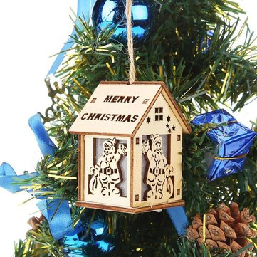 Mini Cute Wood Hollow House Colorful Christmas Tree Hanging LED Night Light for Home Decoration