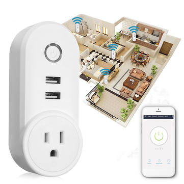 US Plug 110-230V 1250W WIFI Assistant 2 USB Alexa Voice Control APP Smart Socket Charger