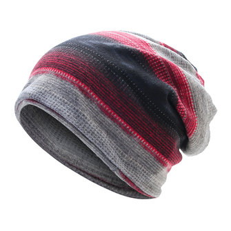 Mens Stripes Beanie Hat Outdoor Winter Plus Cashmere Warm Bonnet Hat Multi-function Scarf
