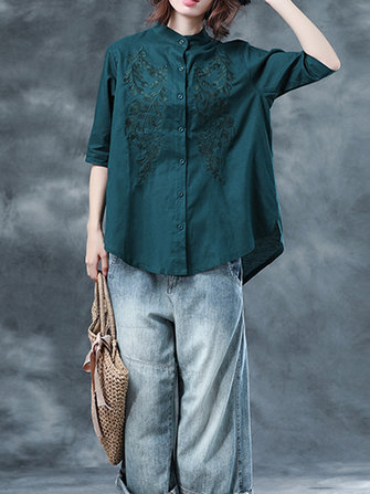 Vintage Women Cotton Loose Short Sleeve Embroidered Blouse