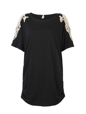Women Casual Short Sleeve Simple Lace Stitching Pure Color Loose Dress
