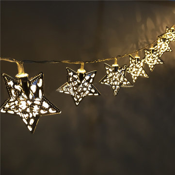 KCASA 3.3M 20 LED Metal Star String Lights LED Fairy Lights for Festival Christmas Halloween Party Wedding Decoration Battery Powered