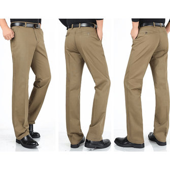 Mens Plus Size Casual Straight Leg Solid Color Classic Business Cotton Pants