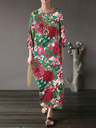 M-5XL Women Floral Dress Vintage Loose Maxi Dresses