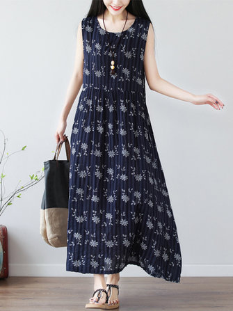 Casual Women Bomull Floral Print Ärmlös O-Neck Dress