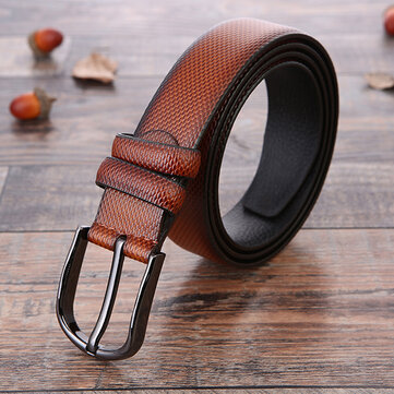 125CM Men Retro PU Leather Belt Grain Pattern Strap Casual Pin Buckle Waistband
