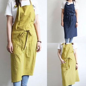 VONDA 8-24 Women Men Chefs 100%Cotton Panifore Aprons Cooking Baking Pockets Solid Long Dress