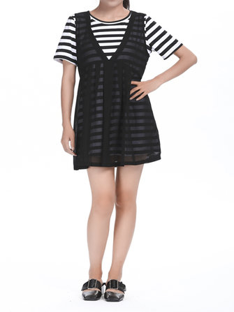 Elegant Women Short Sleeve Stripe Two-piece A-line Chiffon Dress