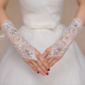 Women White Bridal Glove Lace Embroidered Wedding Dress Sleeve Gloves