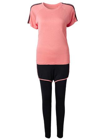 Athleisure Mujer falso de dos piezas pantalones traje de yoga