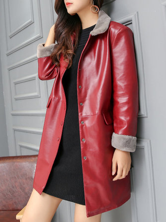 Women Faux Fur Collar Button Long Sleeve PU Leather Trench Coat