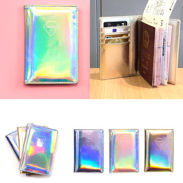 IPRee® Travel PU Leather Passport Holder Hologram Metallic Card Wallet Organizer