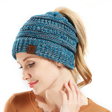 Womens Winter Tail Ponytail Beanie Caps Messy Soft Stretch Knit Messy High Bun Hat