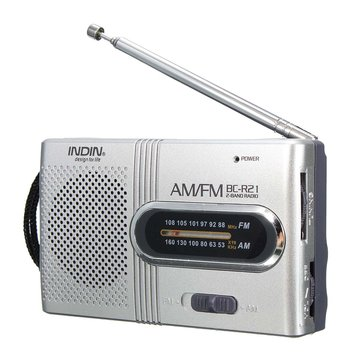 INDIN BC-R21 AM/FM Mini Portable Telescopic Antenna Radio Pocket Speaker Outdoor