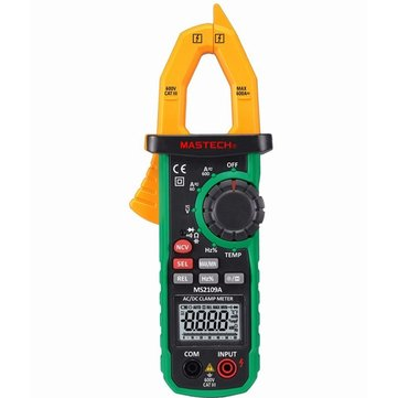 MASTECH MS2109A Auto Ranging Digital AC/DC Clamp Meter Multimeter Frequency Capacitance Temperature NCV Tester