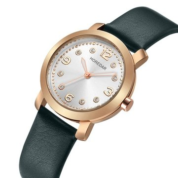HOREDAR 306 Casual Style Women Wrist Watch Elegant Leather Strap Quartz Watches