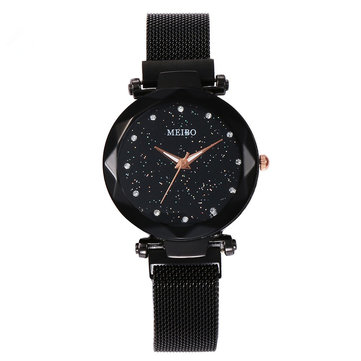 Magnetic Band Crystal Star Dial Women Quartz Watch