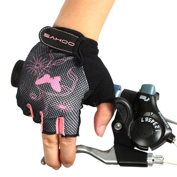 SAHOO Female Half Finger Cycling Glove Bike Gauntlets Bicycle Mitten