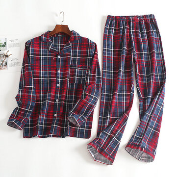 Mens Plaid Printing Turn down Collar Home Cotton Autumn Sleepwear Set