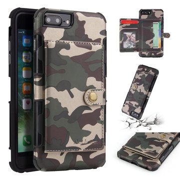 Camouflage Wallet Card Slots Protective Case For iPhone 7 Plus/iPhone 8 Plus