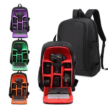 HUWANG 7490 Multi-functional Waterproof 15.6inch Laptop DSLR Camera Bag Video Case Padded Backpack