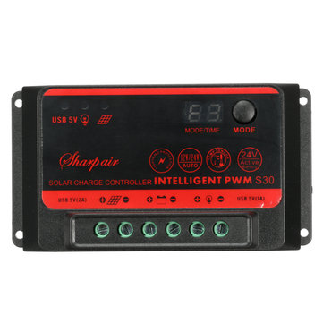 10A/20A/30A LCD Solar Controller Dual USB Port 12V/24V Auto Battery Regulator