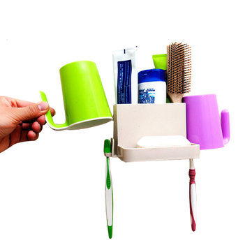 Mrosaa Multi-function Toothbrush Toothpaste Soap Box Combination Rack Bathroom Shelves Sucker Mug Wash Suit Hanging Holder