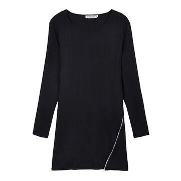 Women Fashion Side Zipper Hem Long Sleeve Slim T-shirt