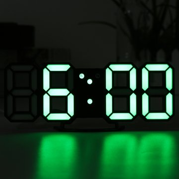 5V 1A Modern 3D LED Digital Table Desk Clock Stereo Wall Clock 24/12 Hour Display Alarm Snooze And Night Mode Function