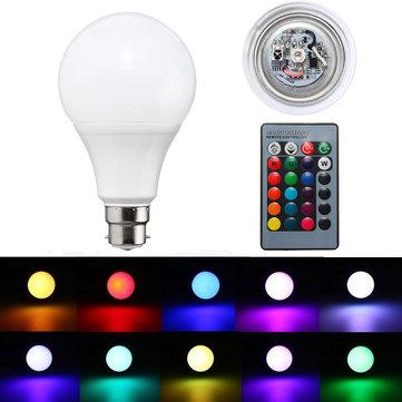 B22 5 วัตต์การเปลี่ยนสี RGB แบบหรี่แสง ไฟ LED หลอดไฟ รีโมทคอนโทรล AC85-265V